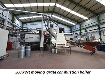 photo of 500 kWt moving grate combustion boiler