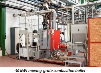 photo of 40 kWt moving grate combustion boiler