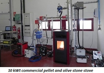 photo of 10 kWt commercial pellet and olive stone stove