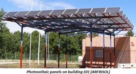 photo of photovoltaic panels on building E01 (ARFRISOL)