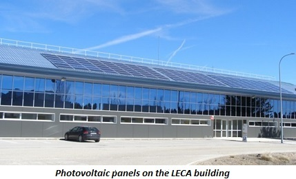 photo of photovoltaic panels on the LECA building