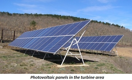 photo of photovoltaic panels in the turbine area