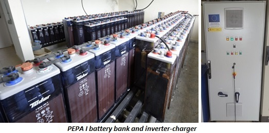 PEPA I battery bank and inverter-charger
