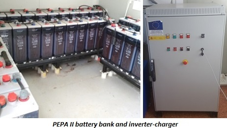 photo of PEPA II battery bank and inverter-charger
