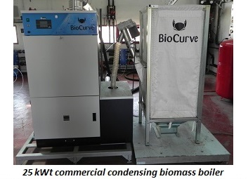 photo of 25 kWt commercial condensing biomass boiler