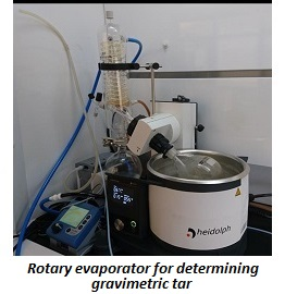 photo of rotary evaporator for determining gravimetric tar